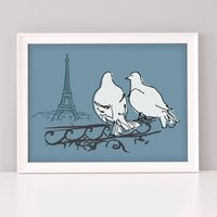 Paris Pigeons Art Print, Blue/Grey/Yellow