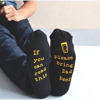 Hidden Message Please Bring Beer Personalised Socks, White/Royal Blue/Blue