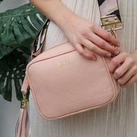 Personalised Leather Soft Pink Handbag