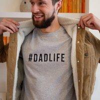 #Dadlife Mens T Shirt, Black/Grey/Cyan