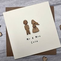 Personalised Wooden Token Wedding Card