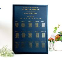 Large Black And Gold Foil Wedding Seating Table Plan