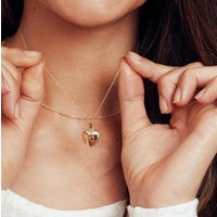 Small Solid Gold Or Silver Heart Locket Necklace, Silver