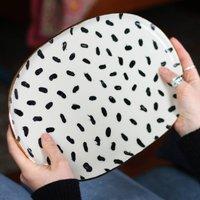 Polka Dot Ceramic Oval Platter