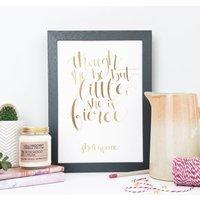 Foil Calligraphy 'Little But Fierce' Baby Girl Print