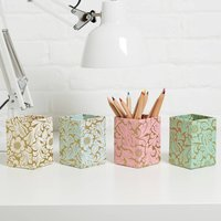 Recycled Gold Floral Pen Pot, Mint/Blue/Cream