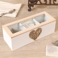 Personalised Traditional Wooden Heart Tea Box