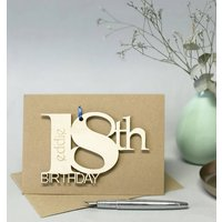 Personalised 18th Birthday Card, Brown/Cream/White