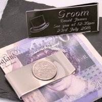Engraved Lucky Sixpence Groom Money Clip