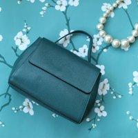 Leather Top Handle Handbag, Teal Blue