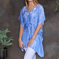 Cornflower Blue Luxury Silk Embroidered Kaftan Top