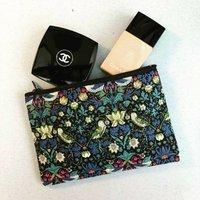 Liberty Print Strawberry Thief Make Up Bag, Navy/Chocolate/Brown
