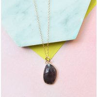Rose Gold Ruby Teardrop Necklace, Gold