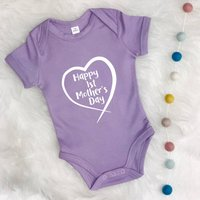 Happy First Mothers Day Heart Babygrow, Blue/Navy/Pink