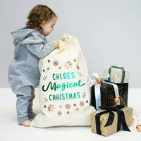 Personalised My Magical Christmas Sack, Green/Copper
