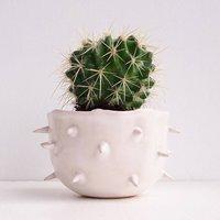 Handmade Small White Spiky Ceramic Cactus Planter