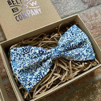 Liberty Bow Tie In Navy And White Ditsy Floral