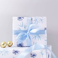 Christmas Snowflake Recycled Wrapping Paper, Sky Blue/Blue/Bright Pink