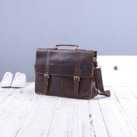 Worn Look Genuine Leather Briefcase