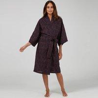 Cotton Wrap Kimono In Navy Dash Print