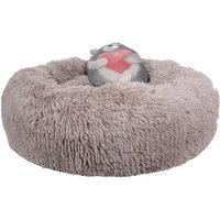 Brown Anxiety Reducing Dog Bed With Plush Bear Toy