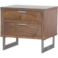 Morcott Walnut Two Drawer Bedside Cabinet