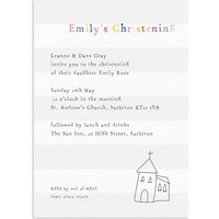 20 Little Church Stripe Christening Invitations