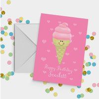 Ice Cream Birthday Card A5, Pink/Lilac
