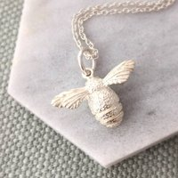 Sterling Silver Bee Necklace, Silver