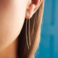 Silver And Gold Double Bar Drop Earrings, Silver