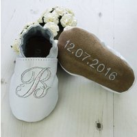 Personalised Iridescent Initial Christening Shoes, Cream/White/Light Pink