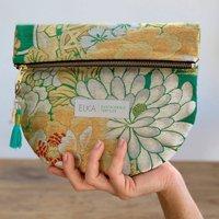 Metallic Green Vintage Kimono Clutch Bag