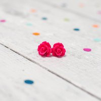 Rose Flower Earrings Brights, Hot Pink/Pink/Jet