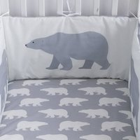 Polar Bear Print Fitted Cot Sheet, Grey/Pink