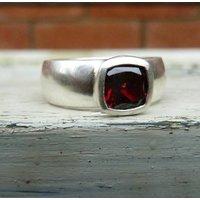 Wide Silver Garnet Ring, Silver