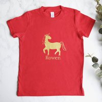 Kid's Personalised Gold Unicorn T Shirt In Red