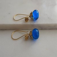 Swiss Blue Quartz Earrings In Gold Vermeil, Gold
