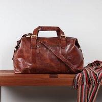 Mens Leather Weekend Holdall Bag