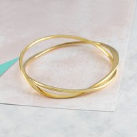 Infinity Curved Interwoven Wire Gold Bangle, Gold
