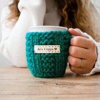 Personalised Knitted Mug Cosy, Blue/Fuchsia Pink/Fuchsia