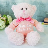 Personalised New Baby Teddy Bear Gift, Pink/Fuchsia/Navy Blue