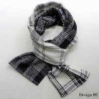 Women's Monochrome And Grey Fabric Scarves