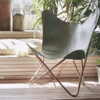 Nu Buck Leather Butterfly Chairs Different Colours, Chocolate/Black/Emerald