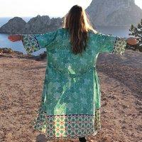 Malachite Mosaic Organic Bamboo Silk Long Kimono