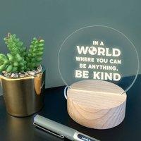 Engraved Be Kind Positive Mini Desk Lamp