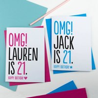 21st Birthday Card Omg Personalised, Blue/Pink