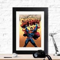 Superman Solar Flare Retro Framed Print