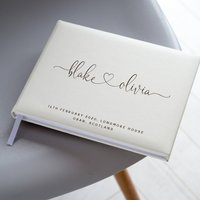 Leather Names Heart Guest Book