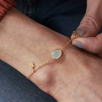 18ct Gold Gemstone And Star Charm Bracelet, Gold