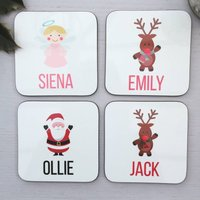 Personalised Children's Christmas Coasters
